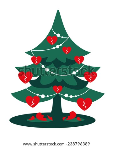 Christmas Heartbreak: a green Christmas Tree with red broken heart shaped baubles and shattered hearts.For who's having trouble on Winter Holidays due to a breakup. Xmas can be a hard time! Drawing - stock photo