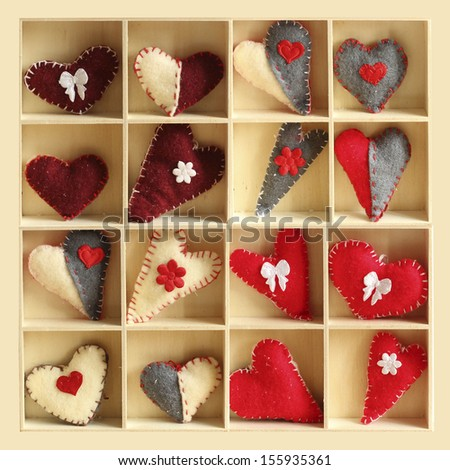 christmas hearts in wooden box - stock photo