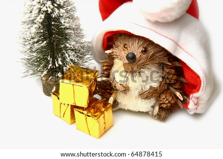 christmas hedgehog - stock photo