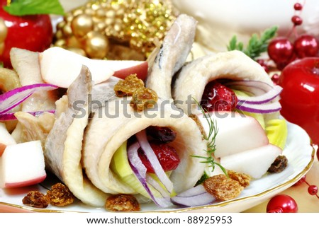 christmas herring with decorations - stock photo