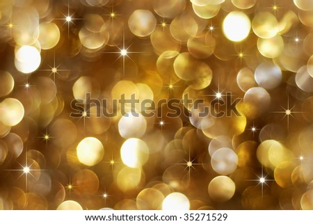 Christmas high contrast golden lights background with little stars - stock photo