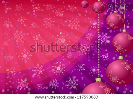 Christmas holiday background: balls, snowflakes and rays