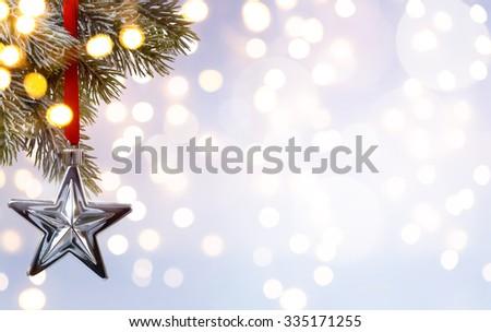 Christmas holiday background; tree light - stock photo