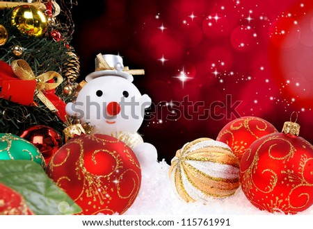 Christmas holiday background with a snow man - stock photo