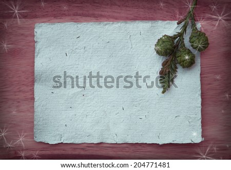 Christmas Holiday Background with copy space and Christmas tree branch - stock photo