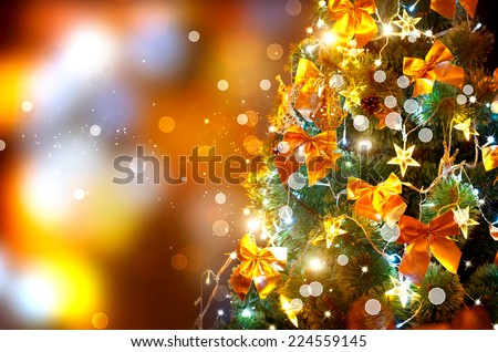 Christmas holiday blinking abstract background with decorated christmas tree - stock photo