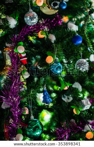 Christmas holiday blinking abstract background with decorated christmas tree