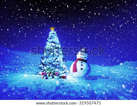 Christmas Holiday Christmas Tree Snowman Decoration Concept