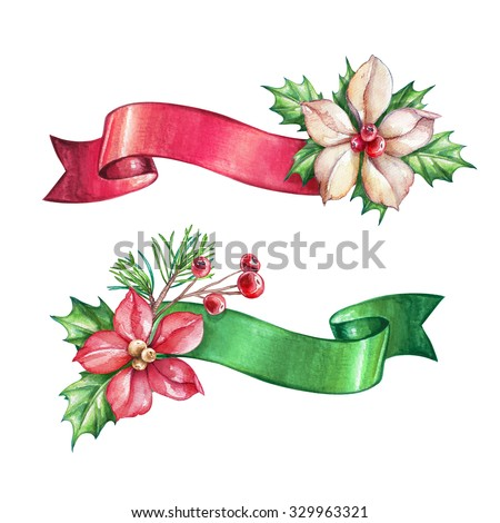 Christmas holiday clip art, poinsettia ribbon banner, design elements, watercolor illustration isolated on white background - stock photo