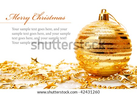 Christmas holiday decoration with gold ball and stars isolated on white background - stock photo