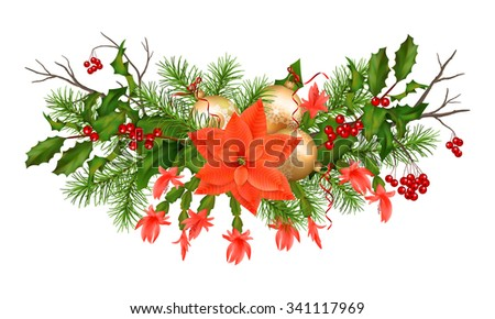 Christmas holiday garland with decorations on white background - stock photo