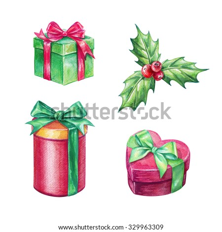Christmas holiday gifts, holy berries, design elements, watercolor clip art isolated on white background - stock photo