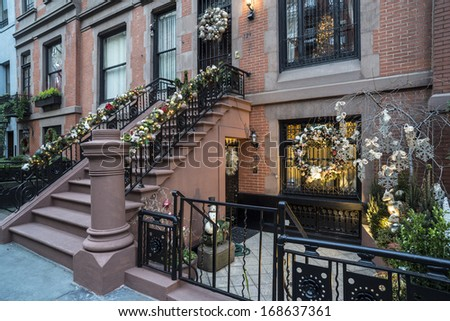 Christmas holiday in New York City brownstone on upper East Side - stock photo