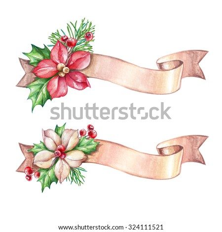 Christmas holiday ornament, poinsettia, ribbon banner, design elements, garland, clip art, watercolor illustration isolated on white background - stock photo