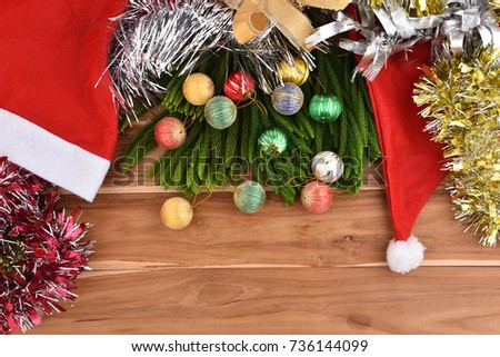 Christmas holiday pace on wood table background