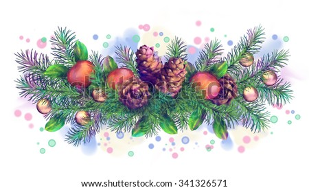 Christmas holiday watercolor border garland with cones and decoration on white background - stock photo