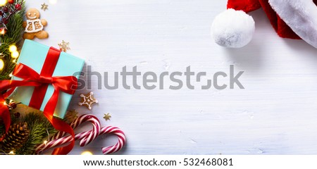 Christmas holidays composition on white wooden background with Christmas tree decoration and copy space for your text.