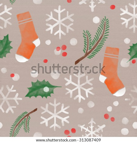 Christmas holidays winter theme pattern. Seamless background with socks, fir tree branches, bows of holly, snowfall, snowflakes and red spots