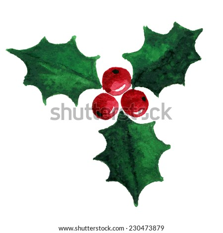 Christmas holly berry symbol. Watercolor illustration. Raster version - stock photo