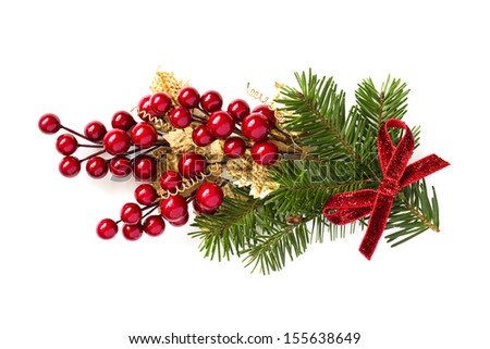 Christmas holly branch decoration isolated on white background. - stock photo