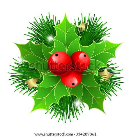 Christmas holly with berries and fir tree branches. For  posters, icons, greeting cards, print projects.Raster version - stock photo