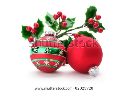 Christmas holly with decorative balls - stock photo