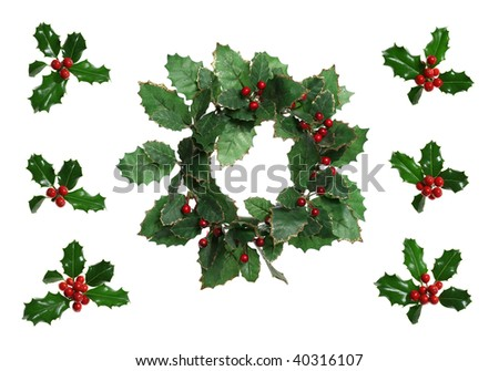 Christmas Holly Wreath - stock photo