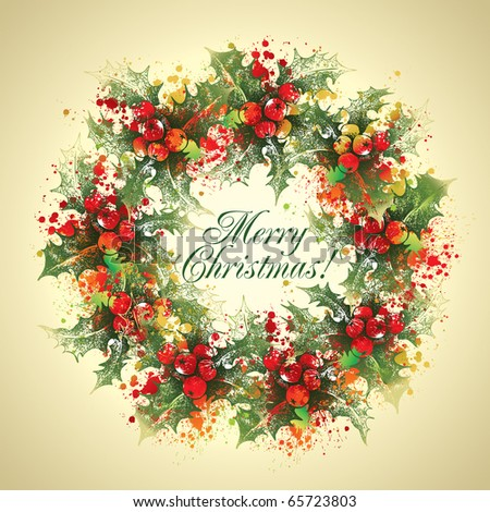 Christmas holly wreath with drops and sprays on a beige background. - stock photo