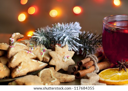 Christmas homemade cookies with punch and spices - stock photo