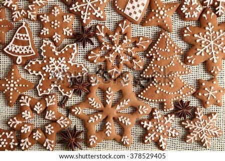 Christmas homemade gingerbread cookies. - stock photo