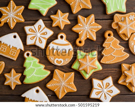 Christmas homemade gingerbread on a wooden background