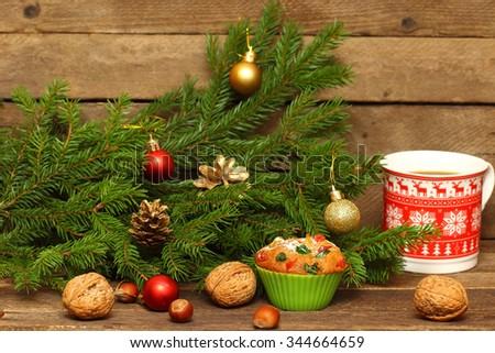 Christmas Homemade Muffins - stock photo