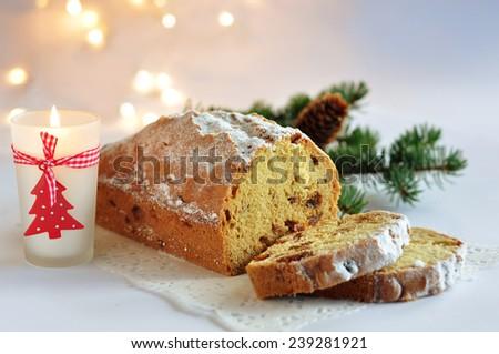 Christmas homemade stollen - stock photo