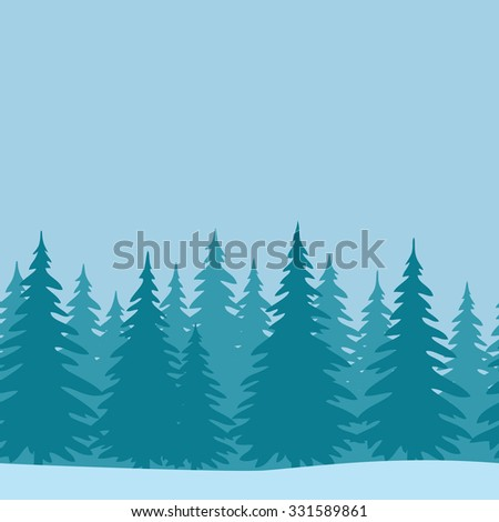 Christmas Horizontal Seamless Background, Landscape with Fir Trees, Winter Holiday Illustration.  - stock photo