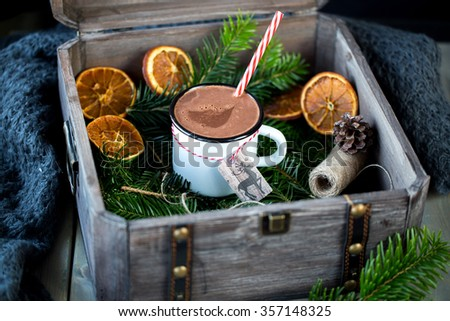 Christmas hot chocolate drink - stock photo