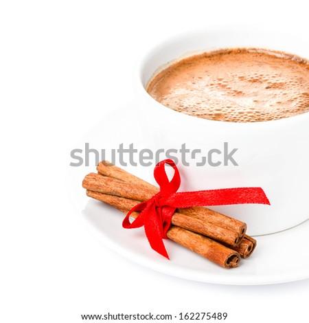 Christmas Hot Chocolate isolated on white background. - stock photo