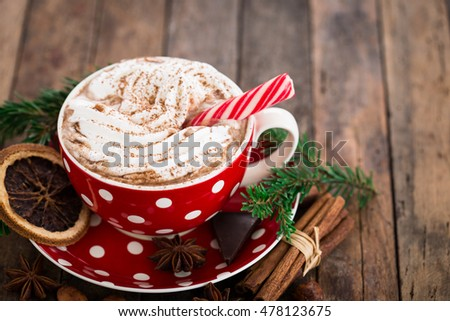 Christmas hot chocolate with whipped cream