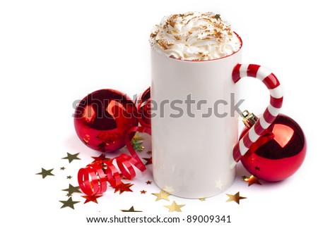 Christmas hot chocolate with whipped cream - stock photo