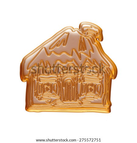 Christmas house icon in gold on isolated white background.