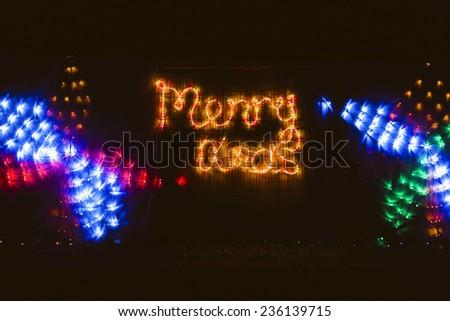 Christmas house lighting decorations - stock photo