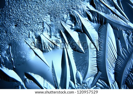 Christmas ice background, macro texture ice cold abstract background in shades of blue - stock photo