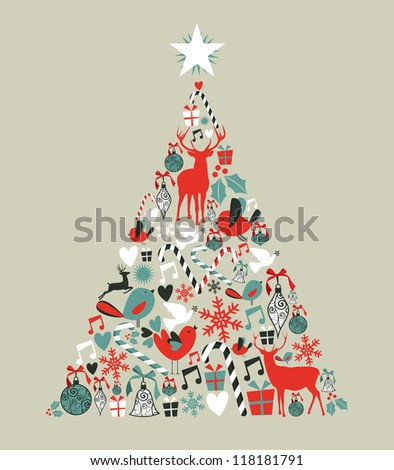 Christmas icons in pine tree shape greeting card background. - stock photo