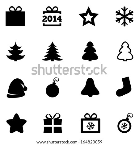 Christmas icons. New Year 2014 icons. Black icons set. Christmas gift box, ball, snowflake, tree, star. Flat icons. On white.