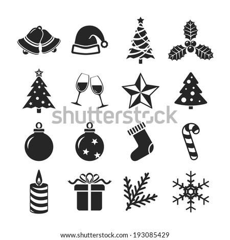 Christmas icons set. Raster version - stock photo