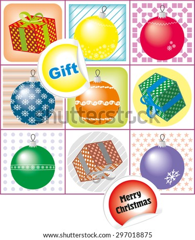 Christmas icons with New Year's balloons and gifts