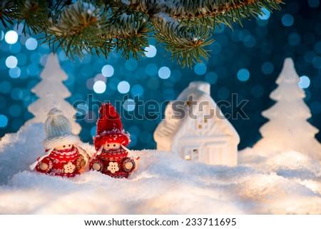 Christmas  illuminated decoration on blue background - stock photo