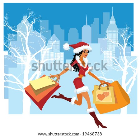 Christmas illustration of a girl with shopping bags - stock photo