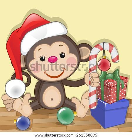 Christmas illustration of cartoon Bear in a Santa's hat  - stock photo