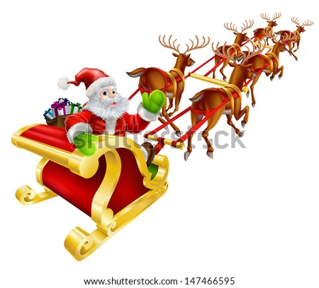 Christmas illustration of Cartoon Santa Claus flying in his sled or sleigh and waving  - stock photo