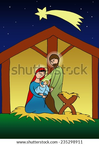 Christmas Illustration of holy family